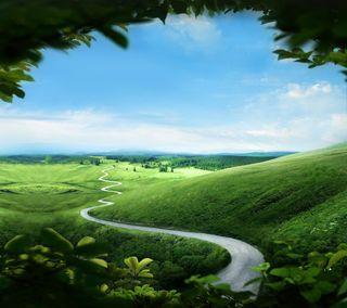 Обои на телефон холм, трава, самсунг, путь, поле, дорога, галактика, samsung, note, galaxy