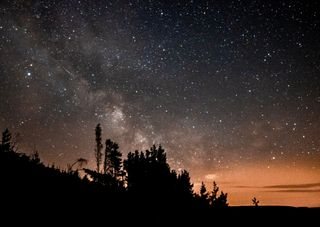 Обои на телефон силуэт, ночь, небо, млечный путь, звезды, звезда, pollution, galaxies, astro