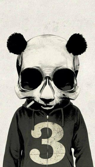Обои на телефон череп, панда, зомби