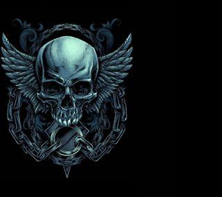 Обои на телефон крылья, череп, chains