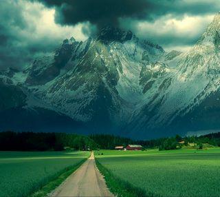 Обои на телефон снег, поле, облака, зима, дорога, горы, alps mountain