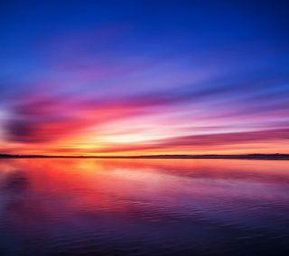 Обои на телефон солнце, океан, море, закат, oppo find 7 sunset, oppo, find