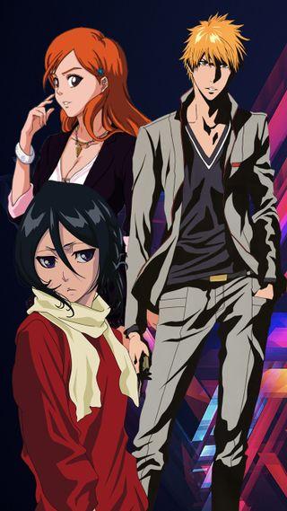 Обои на телефон ичиго, блич, аниме, ichigo orihime rukia