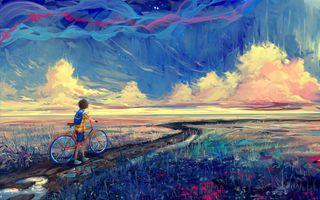 Обои на телефон пейзаж, мальчик, картина, горы, байк, downhill, boy with a bike