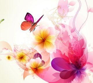 Обои на телефон сад, цветы, бабочки, абстрактные, hd