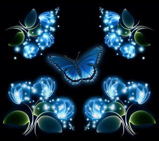 Обои на телефон светящиеся, цветы, цветочные, синие, неоновые, бабочки