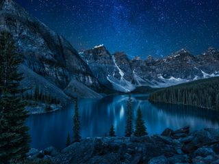 Обои на телефон природа, озеро, ночь, небо, звезды, звездное, uhd, trista, hogue, 929