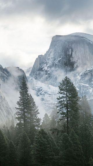 Обои на телефон топ, снег, синие, облака, зеленые, дерево, горы, белые, smoky mountain top