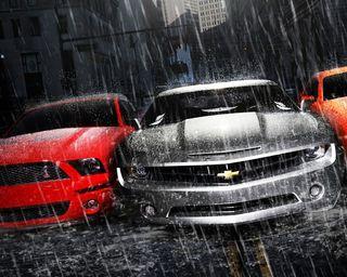Обои на телефон шевроле, форд, мустанг, машины, камаро, дождь, гонка, mustang, ford, fast, chevrolet