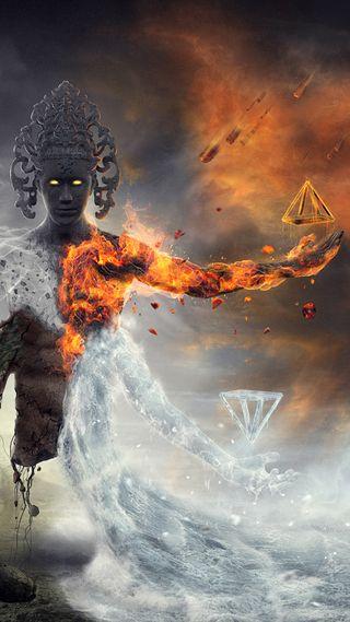 Обои на телефон треугольник, фантазия, статуя, осень, огонь, гореть, вода, water and fire