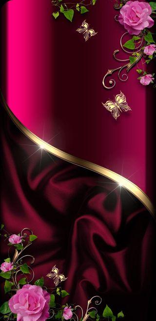 Обои на телефон симпатичные, розы, розовые, прекрасные, красые, золотые, бабочки, satin, garnet