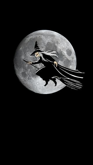Обои на телефон ведьма, хэллоуин, луна