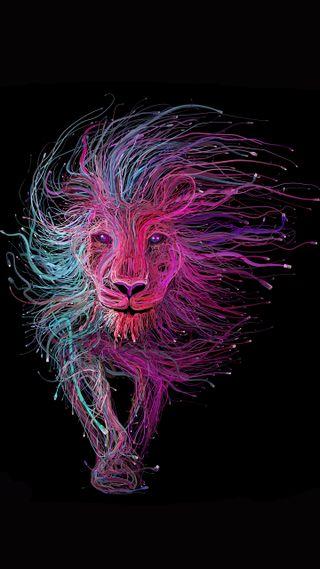 Обои на телефон лев, черные, цветные, фиолетовые, арт, art