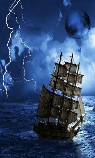 Обои на телефон гром, шторм, природа, пираты, океан, новый, море, лодки, крутые, корабли