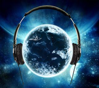 Обои на телефон eart, galaxy, earth headphones, новый, галактика, космос, музыка, земля, мир, планета, наушники, солнечный