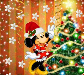 Обои на телефон счастливое, рождество, минни, маус, дисней, 2160x1920px, disney