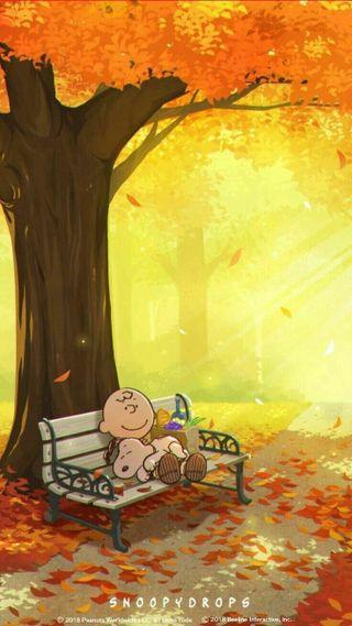 Обои на телефон снупи, скамейка, осень, коричневые