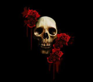 Обои на телефон череп, розы, skull and roses, gfd