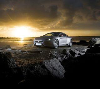 Обои на телефон тюнинг, серебряные, пляж, машины, закат, tuned car, silver car, hd, car at beach
