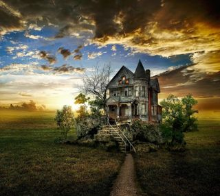 Обои на телефон пустыня, старые, путь, одиночество, замок, закат, деревня, old path