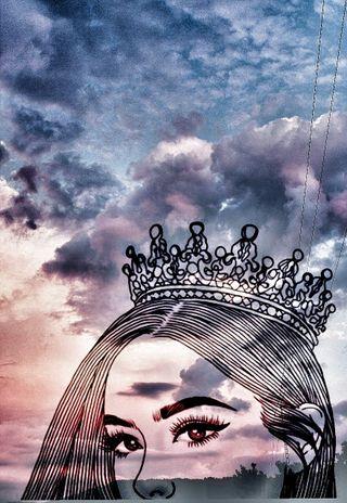 Обои на телефон один, прекрасные, пейзаж, облака, небо, корона, королева, девушки, арт, art
