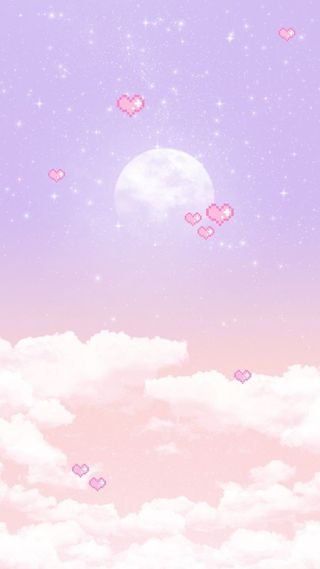Обои на телефон каваи, фиолетовые, пастельные, милые, луна