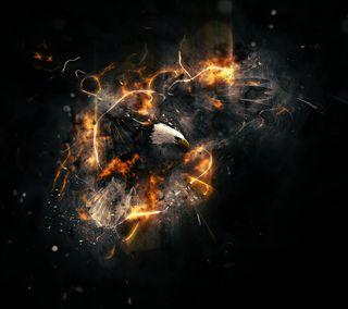 Обои на телефон взрыв, орел, огонь