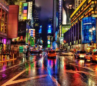 Обои на телефон городские, улица, сша, огни, ночь, красочные, йорк, здания, город, usa, taxi