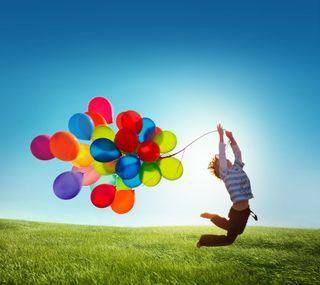 Обои на телефон шары, трава, счастливые, день, ske, jumping, hd, happy