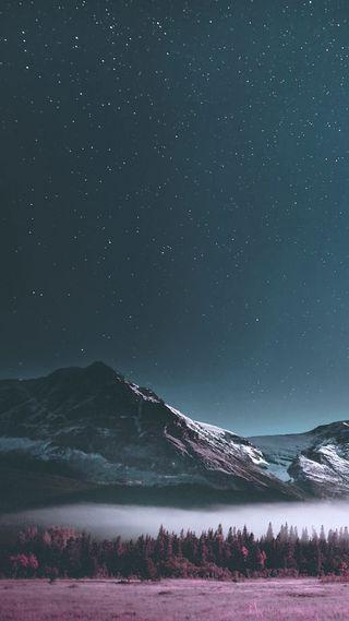 Обои на телефон горы, пейзаж, ночь, небо
