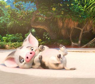 Обои на телефон disney, moana, пляж, деревья, дисней, фильмы, анимация, свинка