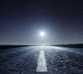 Обои на телефон фикция, прогулка, сияние, полосы, мечта, луна, дорога, walk to moon