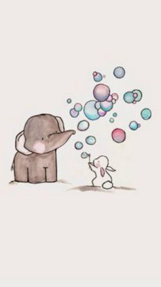 Обои на телефон слон, пузыри, наслаждаться, elephant bubbles c, conejo, amigable