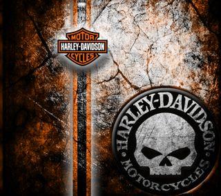 Обои на телефон motoercycle, harley davidson wall, череп, оранжевые, стена, мотивация, байкер, харли, дэвидсон