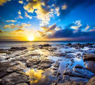 Обои на телефон берег, море, закат, kapalua sunset