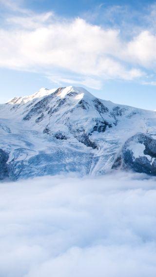 Обои на телефон солнечный свет, яркие, снег, природа, горы, peak