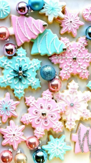 Обои на телефон снежинки, дерево, рождество, печенье, christmas cookies