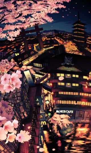 Обои на телефон сакура, японские, рисунки, манга, город