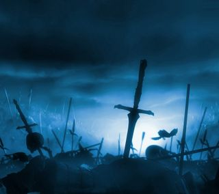Обои на телефон череп, смерть, меч, мертвый, комбат, ворон, война, бой, battlefield