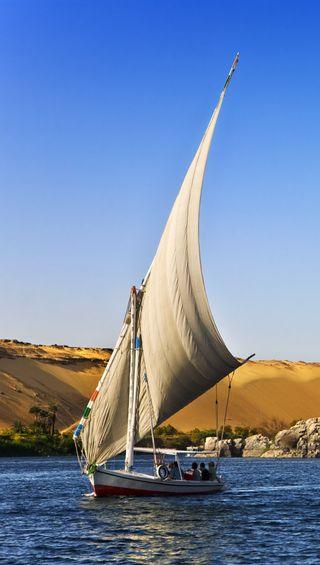 Обои на телефон пустыня, лодки, египет, the nile, nile