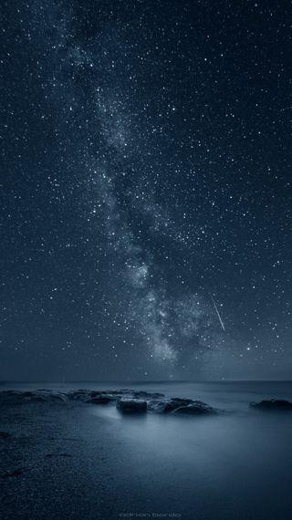 Обои на телефон путь, природа, океан, ночь, море, млечный, звезды, бесконечность, айфон, reflecting infinity, iphone