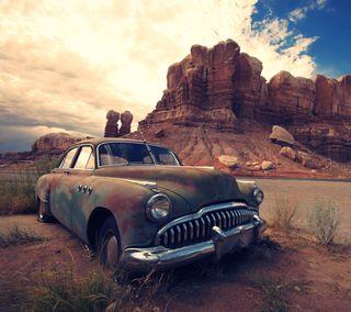 Обои на телефон пустыня, машины, классика, каньон, винтаж, античный, авто
