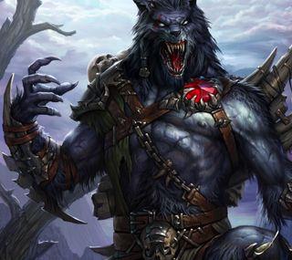 Обои на телефон цепь, воин, фантазия, оборотень, зубы, волк, броня, fangs, claw
