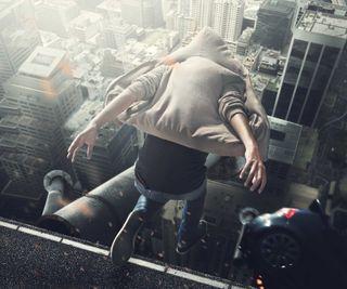Обои на телефон прыгать, небоскребы, мальчик