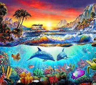 Обои на телефон подводные, тропические, рай, закат, дельфины