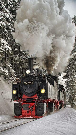 Обои на телефон снежные, поезда