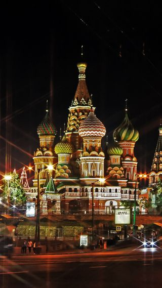 Обои на телефон россия, свет, красые, квадратные, вечер, red square, moscow