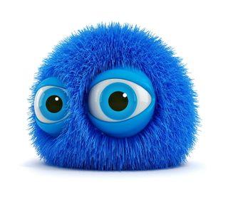 Обои на телефон синие, пушистые, мяч, милые, лицо, забавные, monster, 3д, 3d