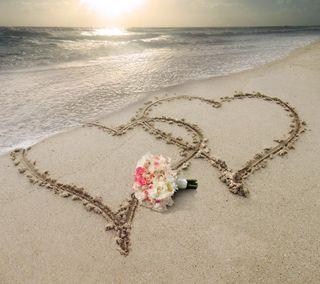 Обои на телефон романтика, цветы, сердце, свадьба, пляж, море, любовь, закат, love