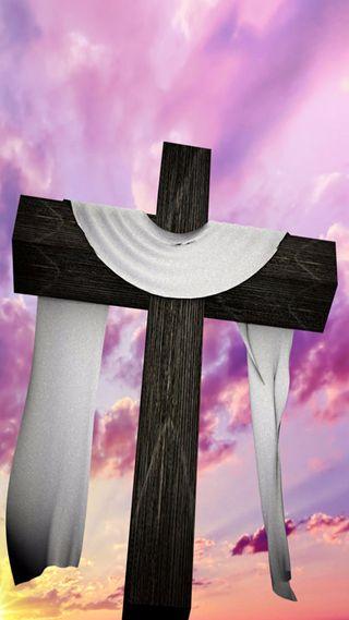 Обои на телефон христос, христианские, пасхальные, облака, небо, крест, дерево